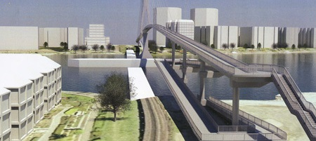 Cable stayed bridge Option 1, estimated cost $19 million.