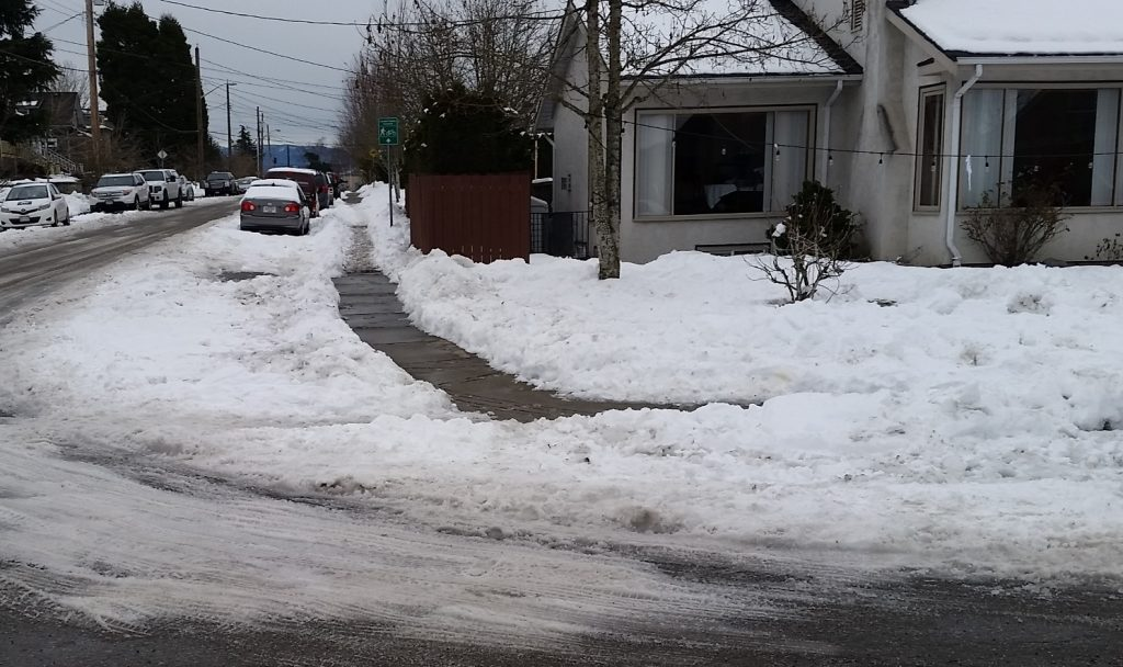 And of course, a shovelled sidewalk does not good with an unplowed crosswalk.
